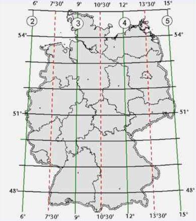 Meridian Zonen über Deutschland
